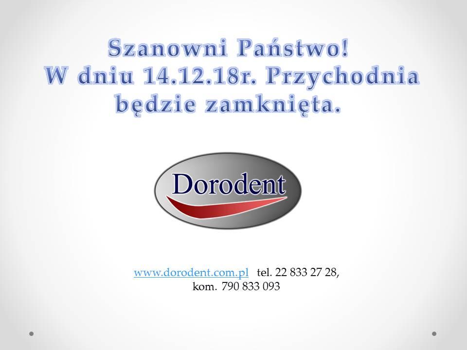W dniu 14.12.18 r. przychodnia będzie nieczynna.
