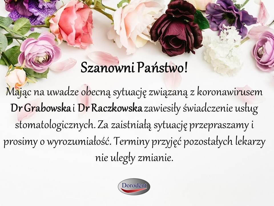 Informacja o zawieszeniu usług stomatologicznych Dr Grabowska i Dr Raczkowska