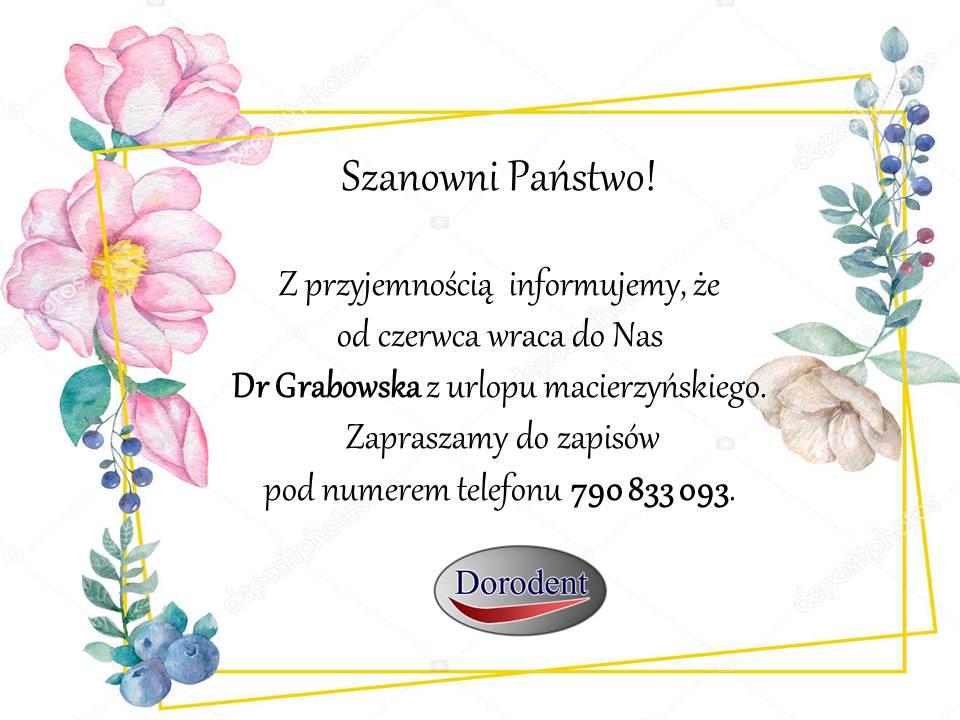 Powrót do pracy Dr Grabowskiej