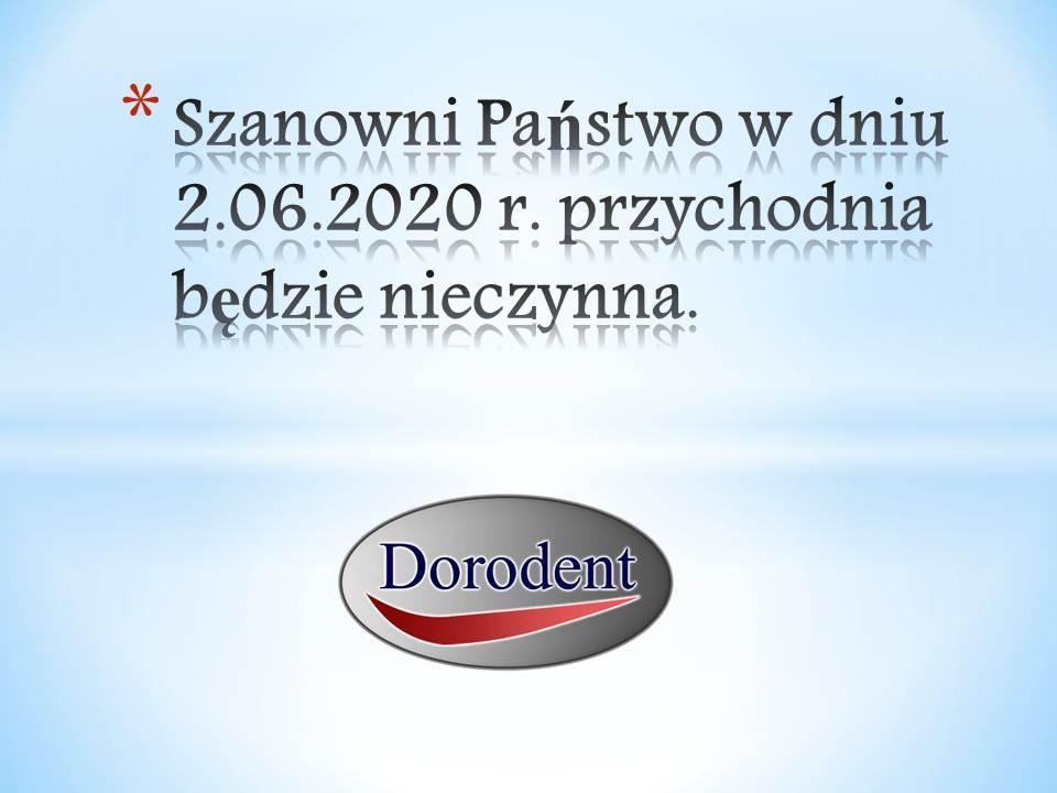 Przychodnia nieczynna 2.06.2020 r.